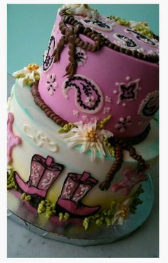 My daughter's 7th year western inspired theme birthday cake coming up next month...