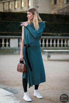 ☆Veronika Heilbrunner wearing Louis Vuitton and Converse between the fashion shows.
