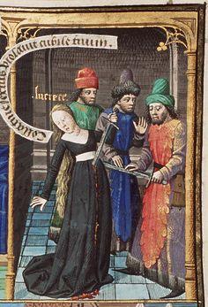 Lucretia committing suicide, from Augustine, La Cité de Dieu, Book IX, illustrated by Maitre Francois, c. 1475-1480