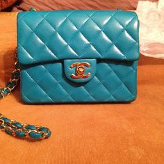 my new Turquoise /gold Chanel mini flap