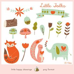 15 woodland folk inspired illustrations for web and print.  THIS SET CONTAINS  • 15 separate high-quality PNG images • transparent background