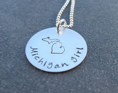 Michigan Girl Necklace Stamped Michigan by klacustomcreations