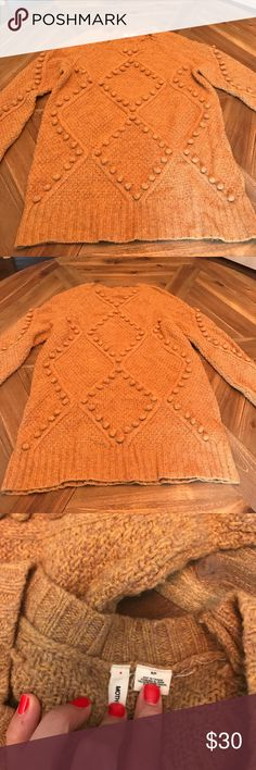 Moth mustard yellow with brown sweater! Beautiful Moth for Anthropologie mustard sweater!! Size small! Has brown thread in it too! I'm 5'2 and it covers booty so longer style! Great fall winter piece!!!! Anthropologie Sweaters Crew & Scoop Necks