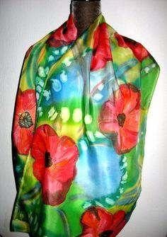 Infinity hand painted Silk scarf Loop scarf Circle by SilkMagic, $55.00