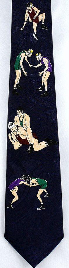New Wrestling Moves II Mens Necktie Wrestlers Sport Novelty Blue Sports Neck Tie #StevenHarris #NeckTie