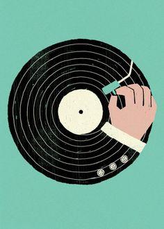 Vinyl in Turquoise - Print for Sale at Bouf Vinyl Record Art, Vinyl Art, Vinyl Records, Vinyl Music, Vinyl Poster, Musik Illustration, Business Illustration, Plakat Design, Art Graphique