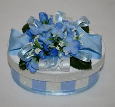 Baby Blue GIFT BOX/Keepsake Box, Glittered Stripes, Flowers and Ribbons by TheBouncingFrogs on Etsy