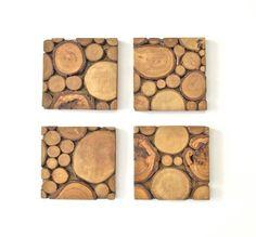 Arbre bois tranche mur d'Art moderne en bois par ElizaLenoreDesigns