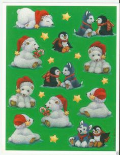 Sheet Stickers Holiday Hallmark Christmas animal polar bear penguin Vintage ? Craft Stickers, Hallmark Christmas, Christmas Stickers, Christmas Animals, My Memory, Childhood Memories, The Past, Snoopy, Teddy Bear