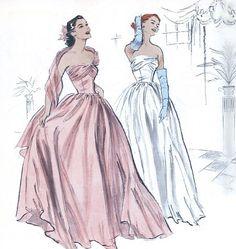 Butterick Evening Dress Pattern B4918 - 1952 Vintage Style Wrapped Bust Strapless Dress - Sz 6/8/10/12. $14.00, via Etsy.