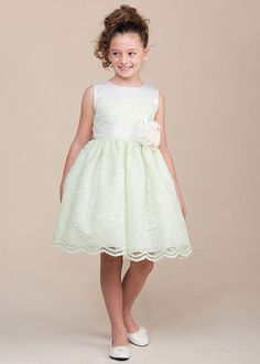 Pretty Lace Flower Girl Dress With Satin Bodice