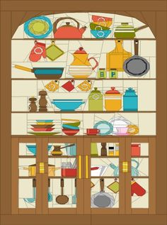 Intermediate paper piecing pattern of a kitchen cupboard on craftsy! Paper Pieced Quilt Patterns, Patchwork Quilting, Landscape Art Quilts, Sampler Quilts, Foundation Paper Piecing, English Paper Piecing, Mini Quilts, Baby Quilts, Quilting Projects