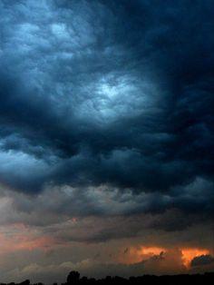 """backyard storm chasing""...  blue, orange and lightening = cool!"
