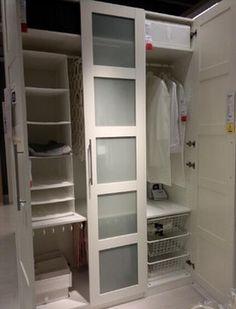 Wardrobes: Pax wardrobe with BERGSBO glass door
