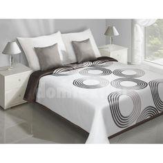 Prehoz na posteľ bielej farby s hnedými kruhmi SKLADOM