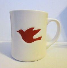 2008 Starbucks White Coffee Mug with Embossed Red Dove