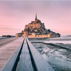 """beautifuldestinations: """"Sunset at Mont Saint-Michel courtesy of Tag someone you would love to go here with! Hello France, Destinations, Mont Saint Michel, Disney Instagram, Web Instagram, Cathedral Church, I Want To Travel, Landscape Illustration, Illustration Art"""