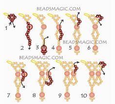 Free pattern for necklace Satin - Beads Magic Beading Patterns Free, Seed Bead Patterns, Beading Tutorials, Free Pattern, Diy Necklace Patterns, Beaded Bracelet Patterns, Beaded Earrings, Bead Embroidery Tutorial, Groomsmen