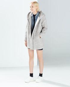 Image 1 of HOODED WOOL COAT from Zara