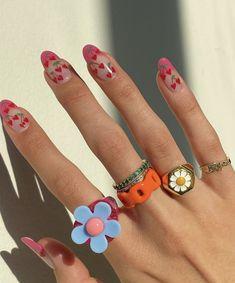 Best Acrylic Nails, Acrylic Nail Designs, Fruit Nail Designs, Hair And Nails, My Nails, Heart Nails, Nail Jewelry, Jewlery, Funky Jewelry