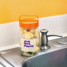 Dish soak fizzies to leave in your dishes overnight to make cleaning easier the next day!