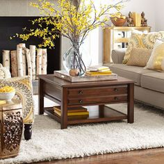 Anywhere Tuscan Brown Square Coffee Table with Knobs