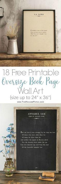 Oversize Book Page Wall Art (and 18 Free Printables!) More Oversize Book Page Wall Art Free Printables} Diy Wall Art, Diy Wall Decor, Diy Art, Quote Wall Art, Room Decor, Diy Wanddekorationen, Easy Diy, Diy Crafts, Farmhouse Wall Art