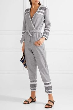 f7c6a223bd6 Dodo Bar Or - Wrap-effect lace-trimmed cotton-jacquard jumpsuit