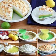 Lemon Lime Meringue Pie food delicious baking recipe pie recipes thanksgiving recipes dessert recipe dessert recipes food tutorials food tutorial lemon meringue pie