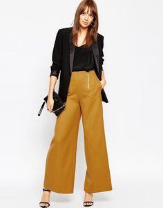 Image 1 ofASOS Wide Leg Trousers with Zipper Detail