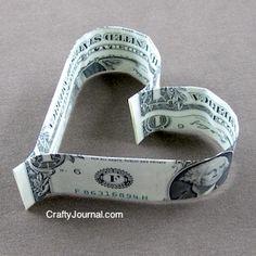 Dollar Bill Heart Origami from Crafty Journal