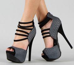 CHIQ | Snake Peep Toe Ankle Strap Platform High Heel Sandal
