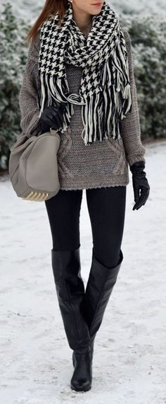 #winter #fashion / houndstooth scarf + gray knit