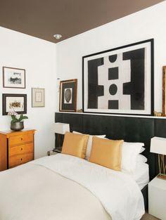 classic bedroom design in black, white and orange