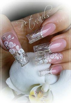 30 Fairy-Like Wedding Nails For Your Big Day – Fancy Nails Crazy Nails, Fancy Nails, Bling Nails, 3d Nails, Cute Nails, Pretty Nails, Coffin Nails, Beautiful Nail Designs, Beautiful Nail Art