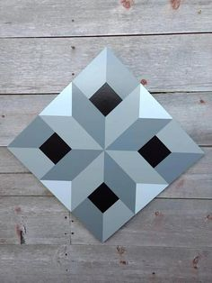 This unique one of a kind barn quilt would look great on your fence, barn, garage, outside buildings or house inside or out. It is painted in 3 shades of grey with black in the center. It is a very and optical illusion pattern. This unique pattern is h Barn Quilt Designs, Barn Quilt Patterns, Pattern Blocks, Quilting Designs, 3d Pattern, Art Patterns, Motif Simple, Optical Illusion Quilts, Painted Barn Quilts