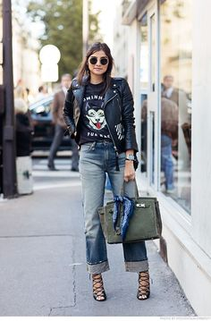 Denim Wide Leg | Street Style | ripped flare jeans , cute top and leather jacket outfit