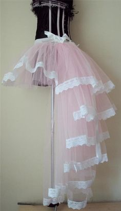 Burlesque PinK White Baby PinK Moulin Rouge Bustle TuTu Skirt sizes XS S M L #thetutustoreuk #Burlesque #Party