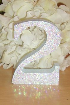 glittery numbers for wedding centerpieces - Google Search