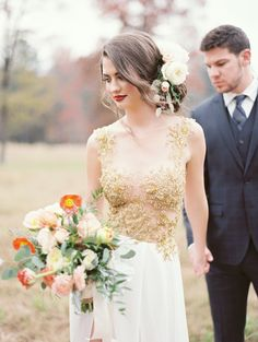 Photography: Brandi Smyth Photography - www.brandismyth.com  Read More: http://www.stylemepretty.com/destination-weddings/2014/12/05/gorgeous-gold-dress-giveaway/