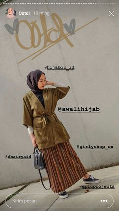 Discover recipes, home ideas, style inspiration and other ideas to try. Ootd Hijab, Casual Hijab Outfit, Hijab Chic, Casual Ootd, Hijab Dress, Modest Fashion Hijab, Modern Hijab Fashion, Muslim Fashion, Korean Outfits