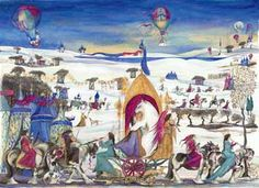 Winter caravan with gypsy vanner horses and music
