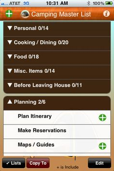 iTunes App for camping checklist
