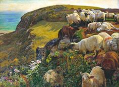 William Holman Hunt - Our English Coasts (Strayed Sheep), 1852
