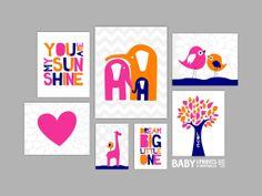 Orange Hot Pink Navy Nursery art prints Set of 7