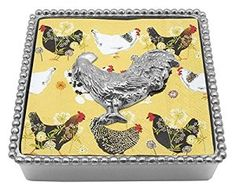 Amazon.com: Mariposa Beaded Napkin Box with Rooster Weight: Serveware: Kitchen & Dining