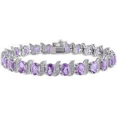 Genuine Purple Amethyst and Diamond-Accent Sterling Silver Bracelet ($150) ❤ liked on Polyvore featuring jewelry, bracelets, purple bangles, amethyst jewelry, sterling silver bangles, diamond accent jewelry and sterling silver jewelry