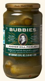Bubbies brand for naturally fermented dill pickles, dill relish and sauerkraut.