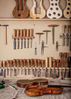 My Tool Board with various carving and violin making tools- chisels, arching gouges, scroll gouges, reamers, etc. Russell Hopper Violin Maker