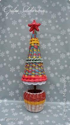 Поделка изделие Новый год Плетение Ёлки Трубочки бумажные фото 1